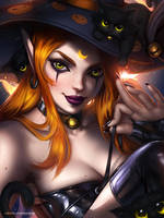 10/5/ Witch and kittens by AyyaSAP