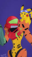 Samus and Pikachu shoulder smile by OuterBlueFox2