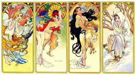 Disney and Mucha - 4 Seasons by Larocka84
