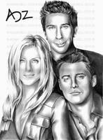 FRIENDS: Rachel, Ross and Joey by adzbell