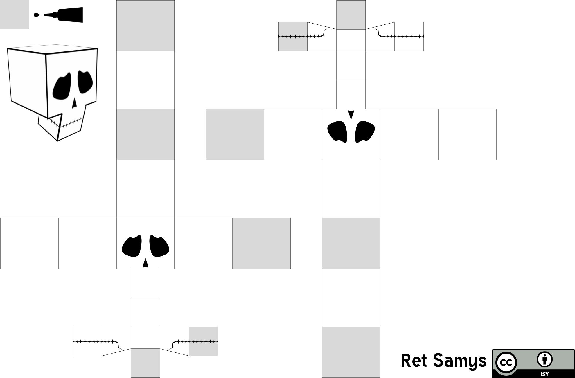 Papercraft Skull Template by RetSamys