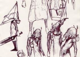 204 - unmasked Pyramid Head sketch by Dalicris