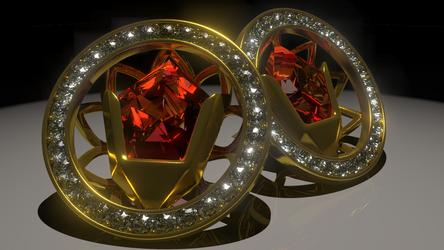 Goron's Ruby Stud Earrings by Serrawolfe