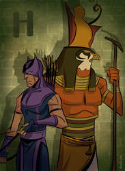 H for Horus and Hawkeye by ChateNoire