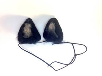 Needle Felt Black Wolf Ears by RRedolfi