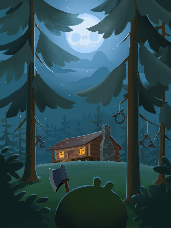 Game Art Cabin in the woods by jjnaas