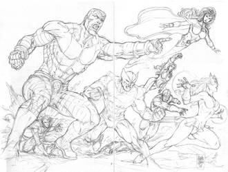 Sketch Double Page X-men by MARCIOABREU7