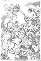 Commission Superman_Supergirl vs Darkseid_Doomsday by MARCIOABREU7