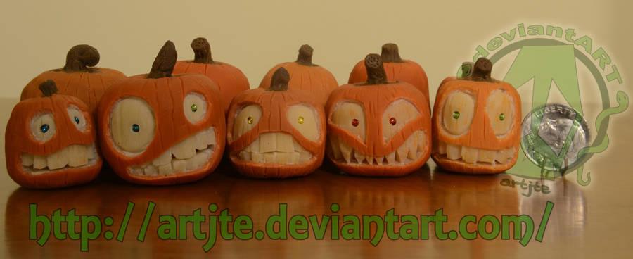 hand carved Small Pumpkins by artjte