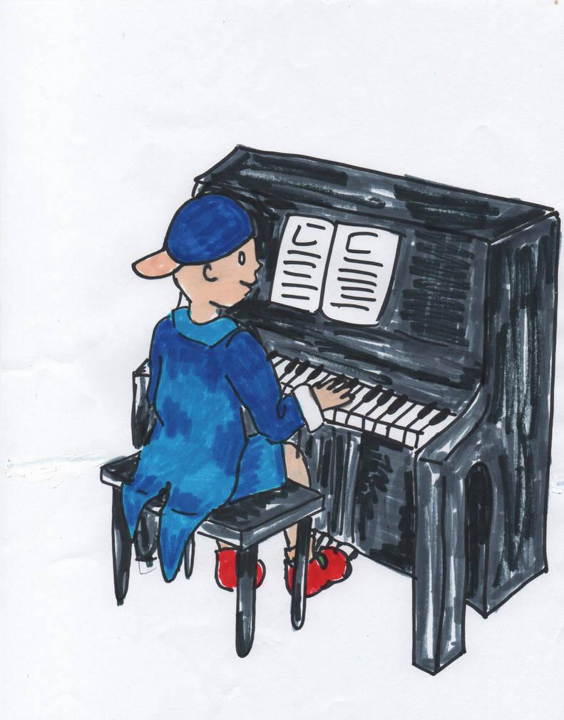 Tuxedo Piano Caillou playing an upright piano by RhiannaPiano300