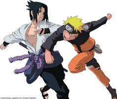 Shippuuden Naruto and Sasuke by EvoIIICE9A