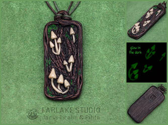 Forest pendant with glowing mushrooms - for sale by JarviTiralin