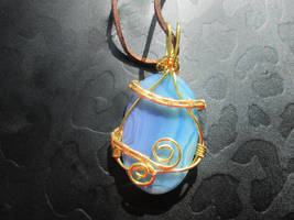 Blue banded onyx gold wirewrapped pendant necklace by Cre8tivedesignz