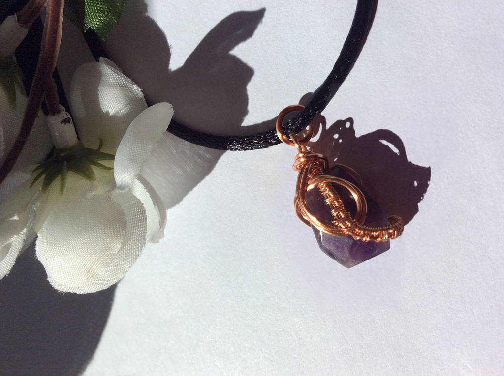 Amethyst Pendant with Copper Wire by Cre8tivedesignz