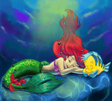 Ariel Coloring Page( with color) by AndaSAMA842