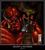 Hellboy VS Wolverine by HellboySoto