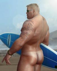 Beach Hunk. by HellboySoto