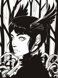 Raven Wings-Ink-W.I.P by LenLenbell