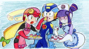 Roll,rockman and meddie by ick25