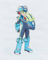 Commission #1 Rockman.EXE and Omega-xis fusion by ick25