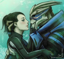 Shepard and Garrus by Silberfeder