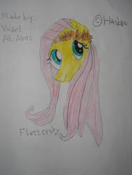 Fluttershy with flowers by Wael-sa