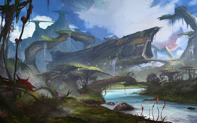 Space Ship in the Jungle by SergeyZabelin