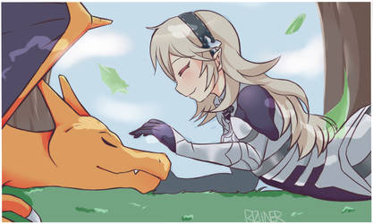 Corrin and Charizard by Roiner-Rinku