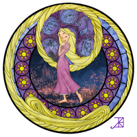 Stained Glass: Rapunzel by Akili-Amethyst