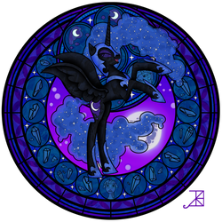 Stained Glass: Nightmare Moon by Akili-Amethyst