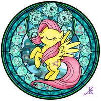 Stained Glass: Fluttershy -better- by Akili-Amethyst