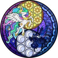 Stained Glass: Sunrise-Moonrise -Vector- -Recolor- by Akili-Amethyst