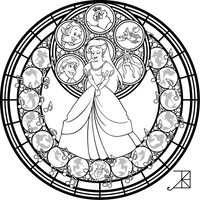 Stained Glass: Ariel: Remastered -line art- by Akili-Amethyst