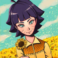 Sunflower Field with Himawari Uzumaki by ekokun