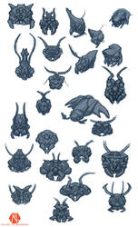 Insectoid Heads by DSil