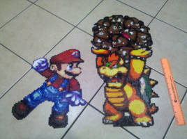 Mario and Bowser Perler by vudumonkey25
