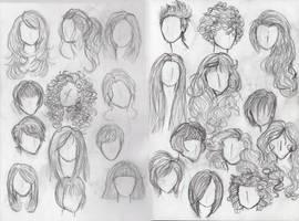 Hair Study- Females by Moon-Shyne