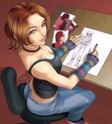 Girl Drawing by Tozani