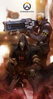 Reaper and Soldier 76 of Overwatch FanArt. by turpentine-08