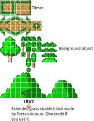 SMW3 Forzen Grass tileset by qwertyuiopasd1234567