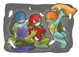 TMNT: Pillow fight by NamiAngel