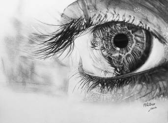 Realistic Eye Pencil Drawing by lanciii