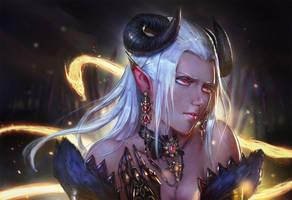 Demon Girl Portrait by Timkongart