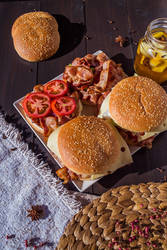 Burgers with bacon by Lleye
