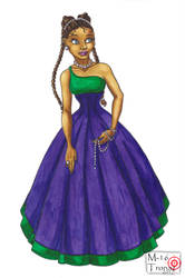 Gown purple and green with pearls by M16Tronaz