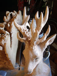 Roe buck in progress 6 by woodcarve
