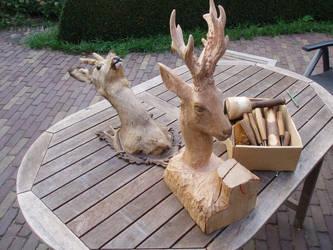 Woodcarver Roe buck in progress8 by woodcarve