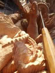 Alpine Ibex in progress 30 by woodcarve