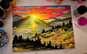 Mountain dawn by eonianshadow