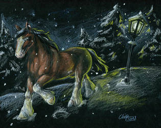 Sad Clydesdale in Snow by Chiparoo